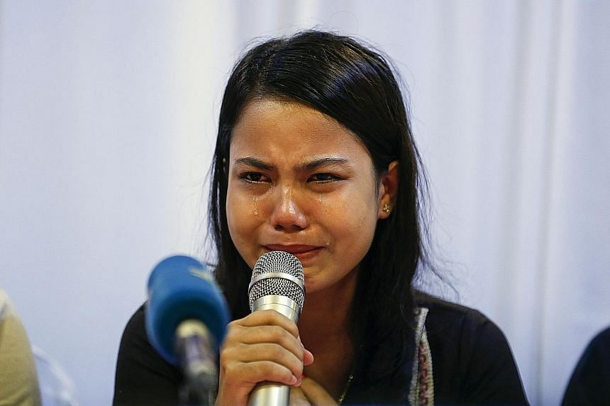 Ms Chit Su Win, wife of Reuters journalist Kyaw Soe Oo, pleading for his release at a press conference in Yangon yesterday. He and his colleague Wa Lone were found guilty under the Official Secrets Act and sentenced to seven years' jail.