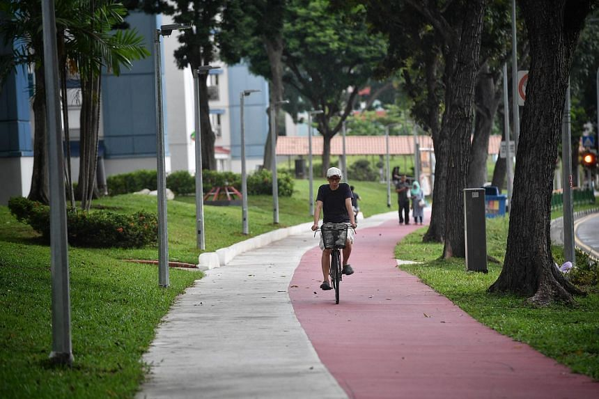 File photo showing a cyclist riding his bicycle in Bedok.