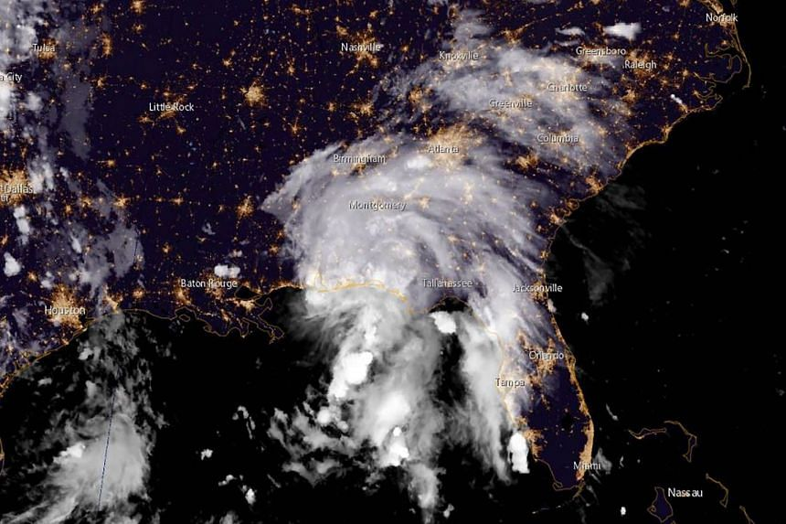 A satellite image obtained from The National Oceanic and Atmospheric Administration shows Tropical Storm Gordon moving towards the US Gulf Coast, on Sept 4, 2018.