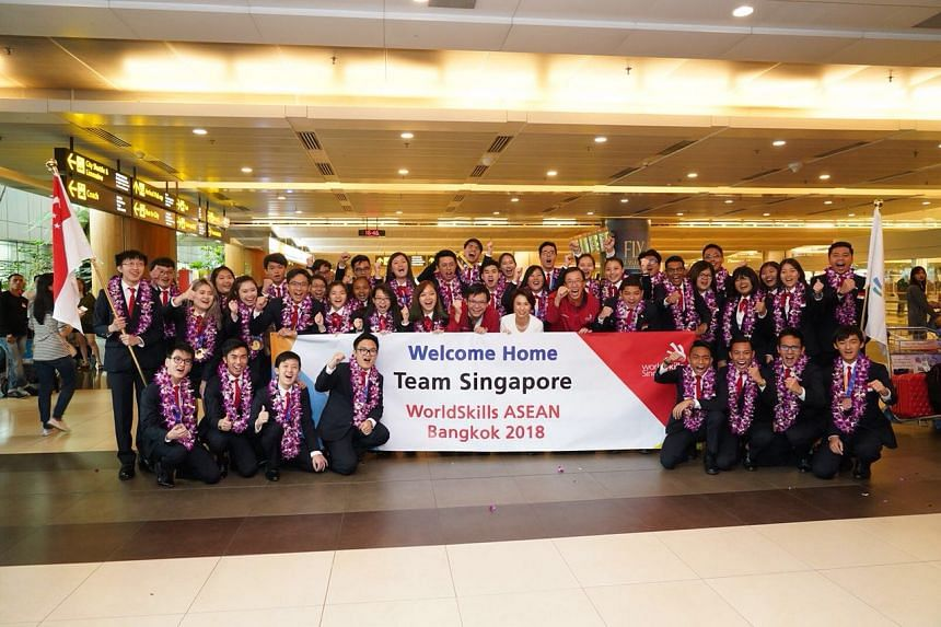 The team of 40 students, with their team managers, experts and coaches at Changi Airport on Sept 5, 2018, after returning from the 12th WorldSkills Asean 2018 competition in Thailand.