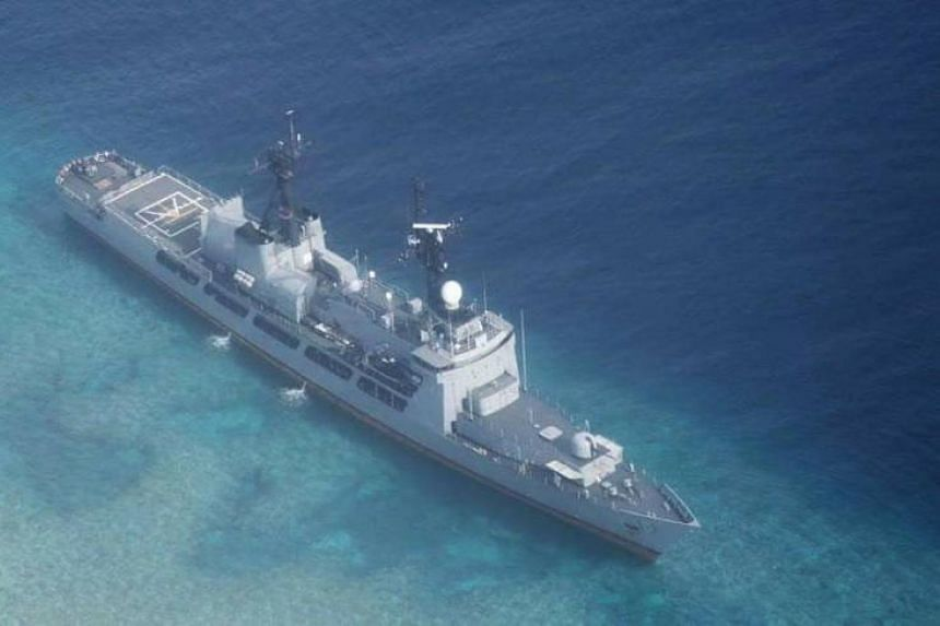 Navy ship BRP Gregorio del Pilar (FF-15) is seen after it ran aground at the disputed South China sea, Philippines, on Aug 29, 2018.