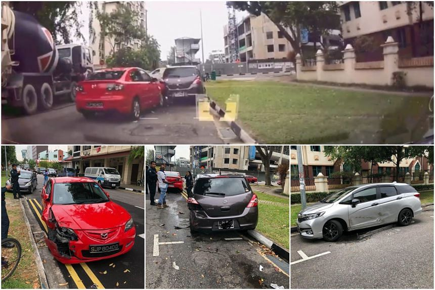 In a video shared on Facebook, a red Mazda can be seen ramming into one car, before crashing into a grey Nissan moments later.
