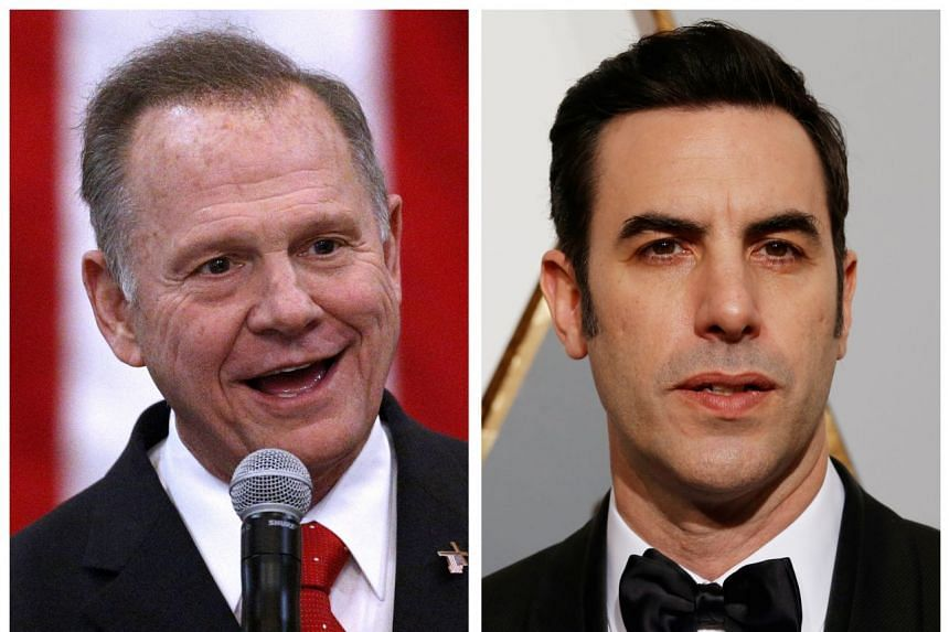 Roy Moore (left) and Sacha Baron Cohen are seen in a combination photo.