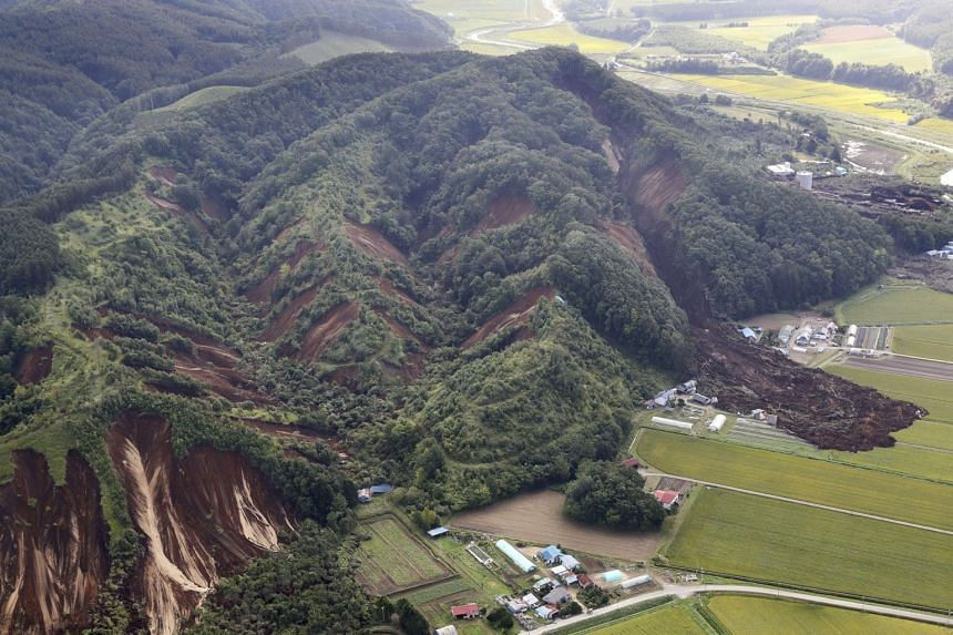 Landslides caused by an earthquake are seen in Atsuma town in Japan's northern island of Hokkaido, on Sept 6, 2018.