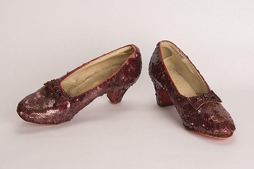 The red sequinned shoes were worn by actress Judy Garland in the movie The Wizard Of Oz (1939).