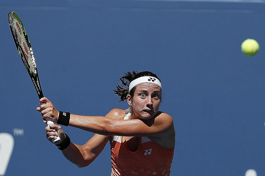 Anastasija Sevastova hitting a return to defending champion Sloane Stephens during their US Open quarter-final. The Latvian's reward for downing the American will be a match-up against six-time winner Serena Williams.