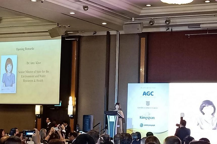 Senior Minister of State for the Environment and Water Resources and Health Amy Khor addressing participants at the Singapore Green Building Council's gala dinner on Sept 6, 2018.