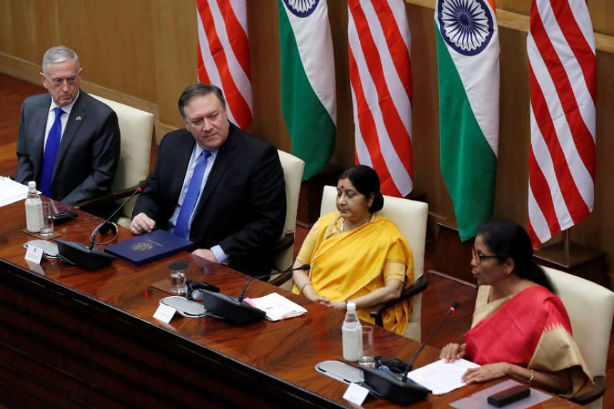 (From left) US Secretary of Defence James Mattis, US Secretary of State Mike Pompeo, India's Foreign Minister Sushma Swaraj and India's Defence Minister Nirmala Sitharaman attend a press conference after a meeting in New Delhi on Sept 6, 2018.