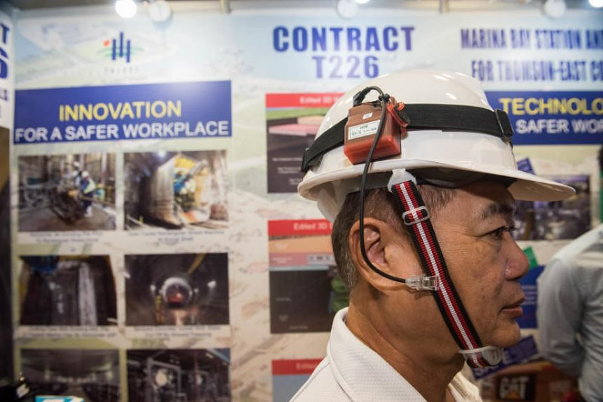 A helmet that vibrates when the wearer is within 1.5m of heavy machinery, one of the exhibits at the Land Transport Authority's Annual Safety Award Convention.