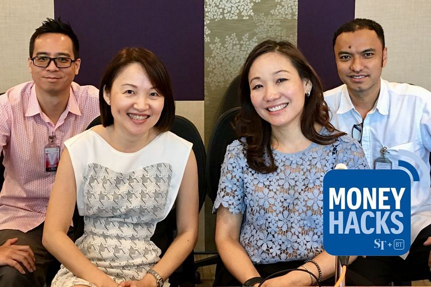 DBS' Ms P'ing Lim (front right) and Ms Tok Geok Peng tell Money Hacks co-hosts Chris Lim (extreme left) and Ernest Luis more about DBS' new digital property marketplace.