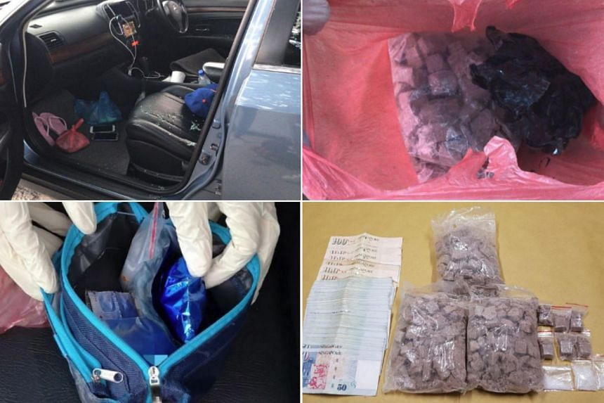 (Clockwise from top left) View of the interior of a blue Nissan, heroin recovered from within the Nissan, seized drugs and cash, and a pouch containing drugs that was recovered from a black Toyota, during the CNB operation on Sept 4, 2018.