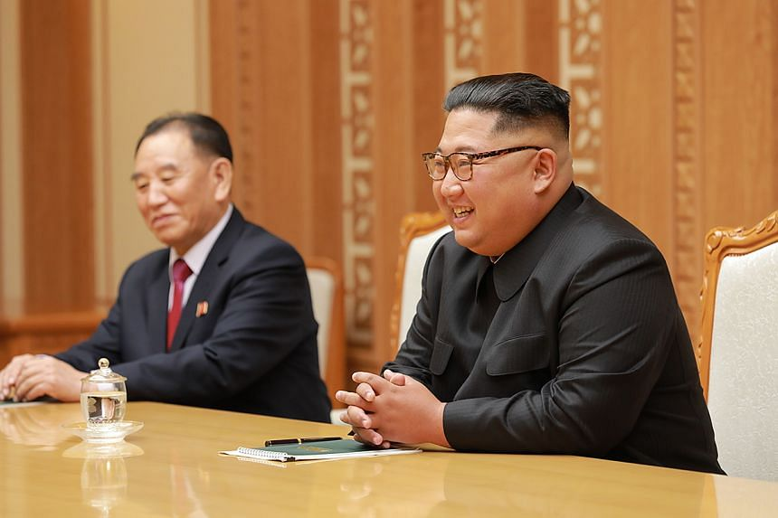 North Korean leader Kim Jong Un (right) speaking with Seoul's special envoy Chung Eui-yong (not pictured) during their meeting in Pyongyang, North Korea, on Sept 5, 2018.