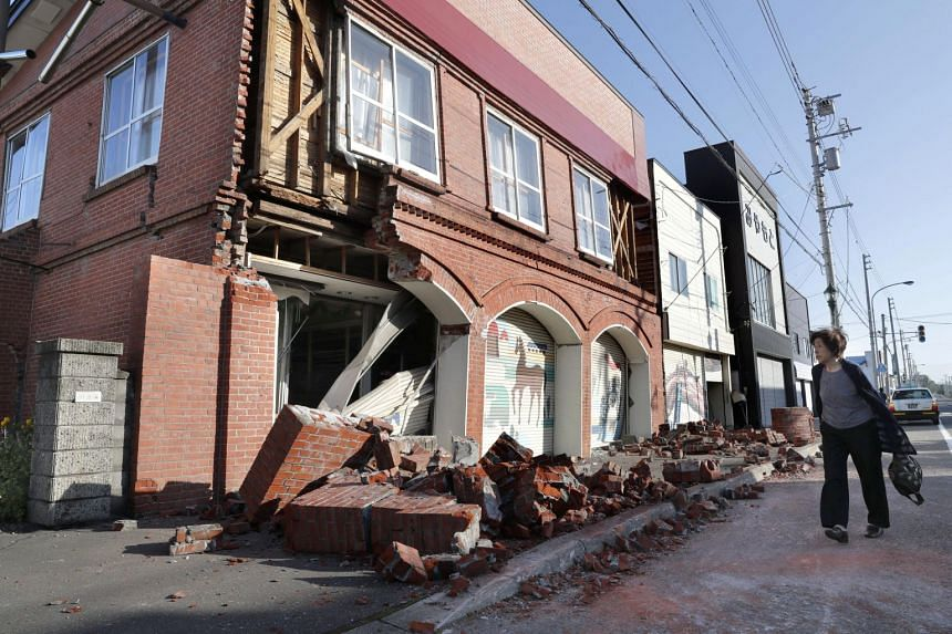 A building damaged by a powerful earthquake is seen in Abira town in Japan's northern island of Hokkaido, on Sept 6, 2018.