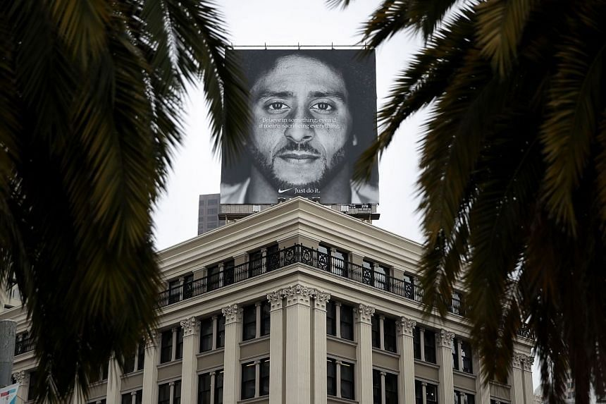 A billboard featuring Kaepernick is displayed on the roof of the Nike Store in San Francisco, California.