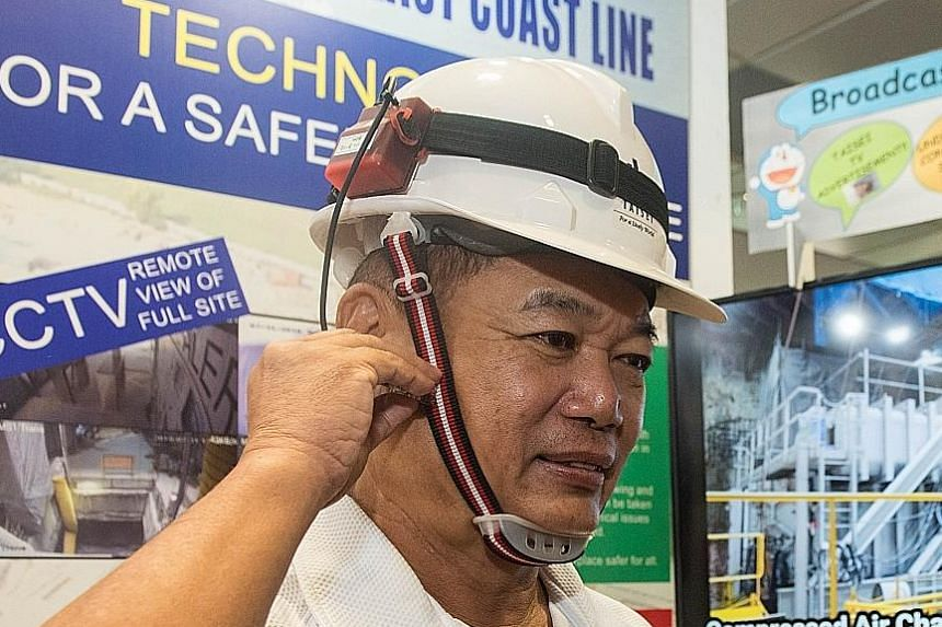 A helmet with a difference - it vibrates when the wearer is too close to a machine to warn the worker of danger.