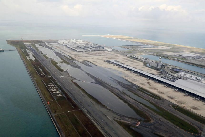 The flooded Kansai International Airport a day after Typhoon Jebi hit the area in Osaka Bay, Japan, on Sept 5, 2018.