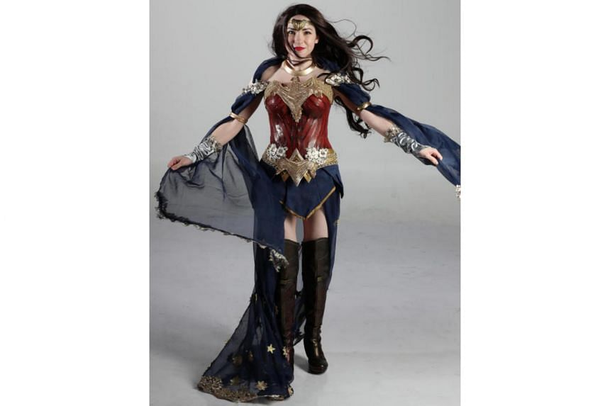 American costume designer and cosplayer Olivia Mears donning a Wonder Woman outfit she created.