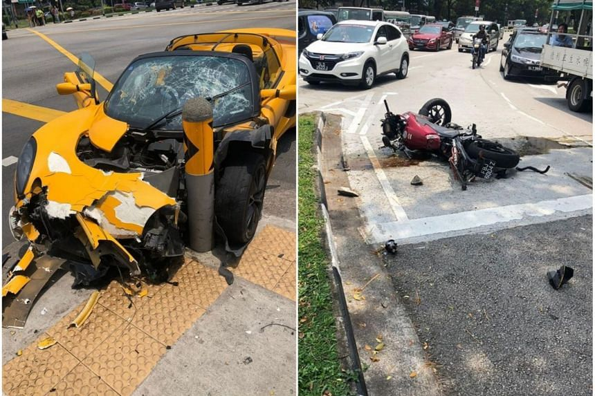 Photos posted on Facebook after the accident at Kaki Bukit on Thursday (Sept 6) showed a heavily damaged yellow sports car and a red motorcycle lying on its side with engine oil or fuel pooled around it.