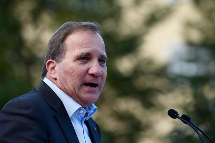 Swedish Prime Minister Stefan Lofven addresses an election campaign rally on Sept 5, 2018.
