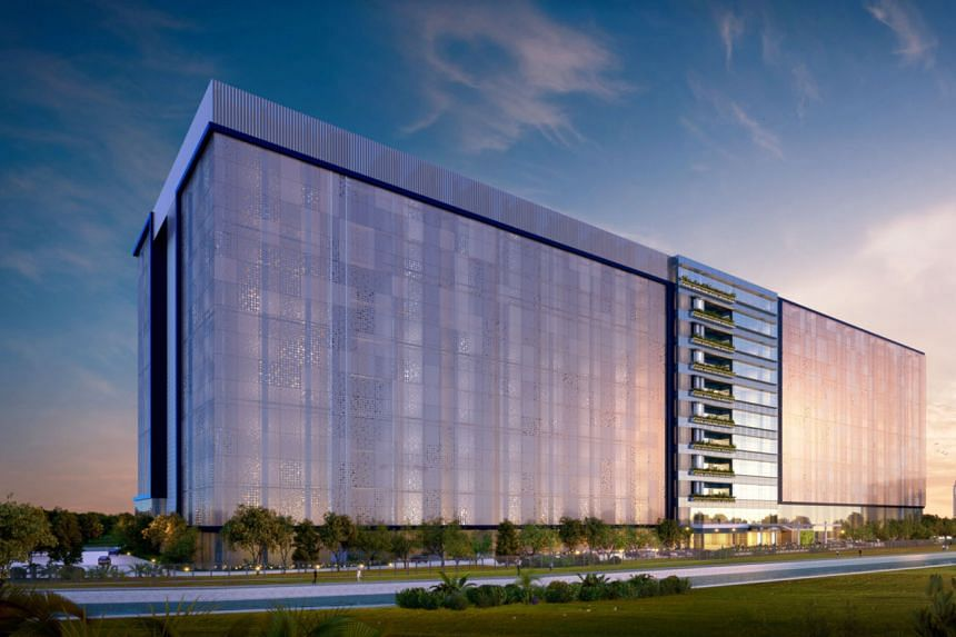 An artist's impression of Facebook's new data centre in Singapore, which will be located in Tanjong Kling. The 170,000 sq m building will feature a facade made out of a perforated lightweight material that will allow air flow and provide glimpses of