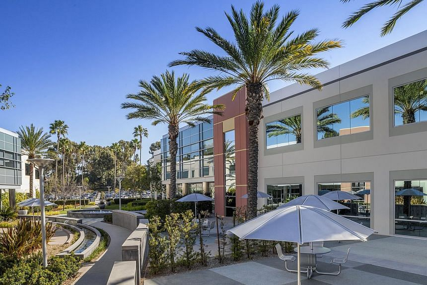 A property in Raleigh and one in San Diego (above) that are part of Ascendas-Singbridge's newly acquired portfolio of 33 office properties with a total net lettable area of about 3.3 million sq ft in three US cities, including Portland. The US move follow