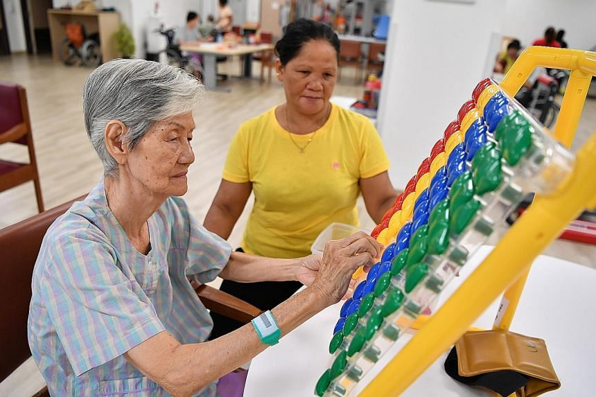 An elderly patient at the Kwong Wai Shiu Hospital, where the new Community Training Institute has been set up.