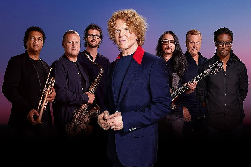British soul-pop veterans Simply Red, led by singer Mick Hucknall (centre, in blue jacket), will be back to perform their hits in Singapore on Sept 16.