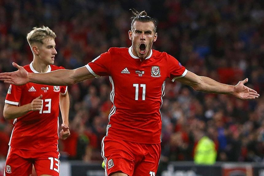 Wales' Gareth Bale celebrates scoring their second goal against Ireland in their Uefa Nations League opener. The forward's strike from outside the box set Wales on the way to a 4-1 win.