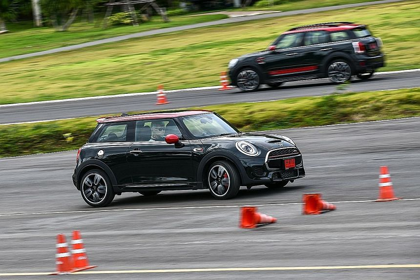 (From far left) Mini John Cooper Works Countryman, JCW Clubman, JCW Convertible and JCW 3-Door. Of these, the 3-Door (above, foreground) is the quickest, with a century sprint time of 6.1 seconds.