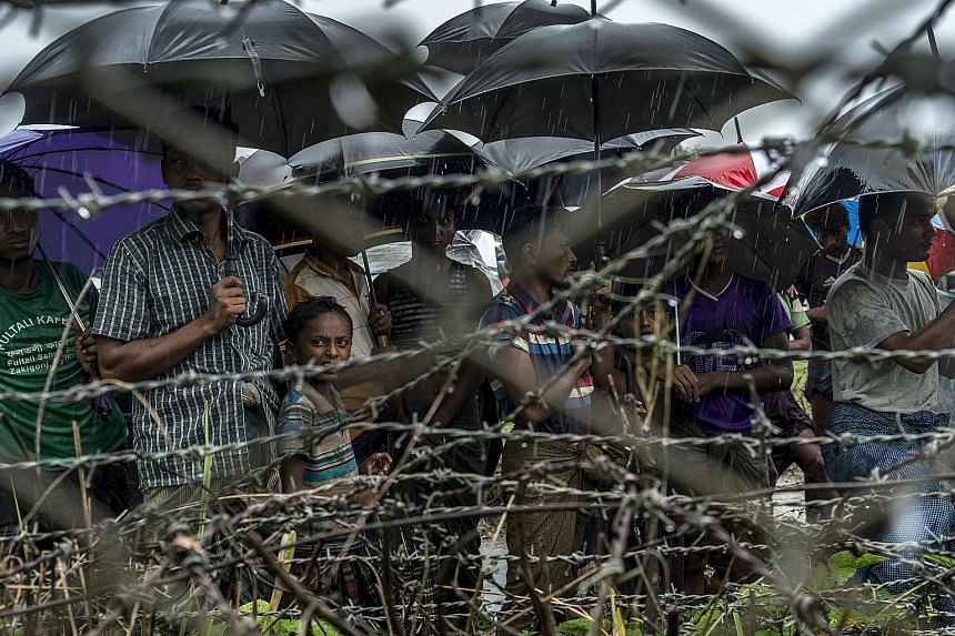 Rohingya Muslims stranded in a no-man's land between Myanmar and Bangladesh. Although Myanmar is not a member of the International Criminal Court, Bangladesh is, and the cross-border nature of deportation was sufficient for jurisdiction, the ICC rule