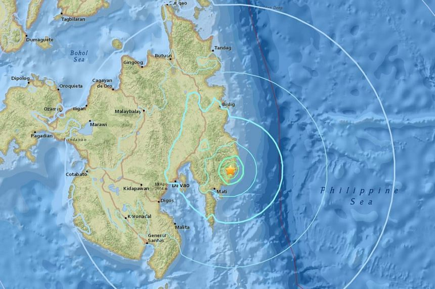 There were no immediate reports of any casualties or damage from the quake, which hit the east coast of the island of Mindanao.