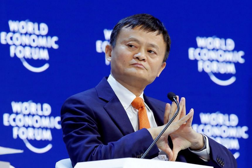 File photo of Mr Jack Ma at the World Economic Forum (WEF) annual meeting in Davos, Switzerland, on Jan 24, 2018.