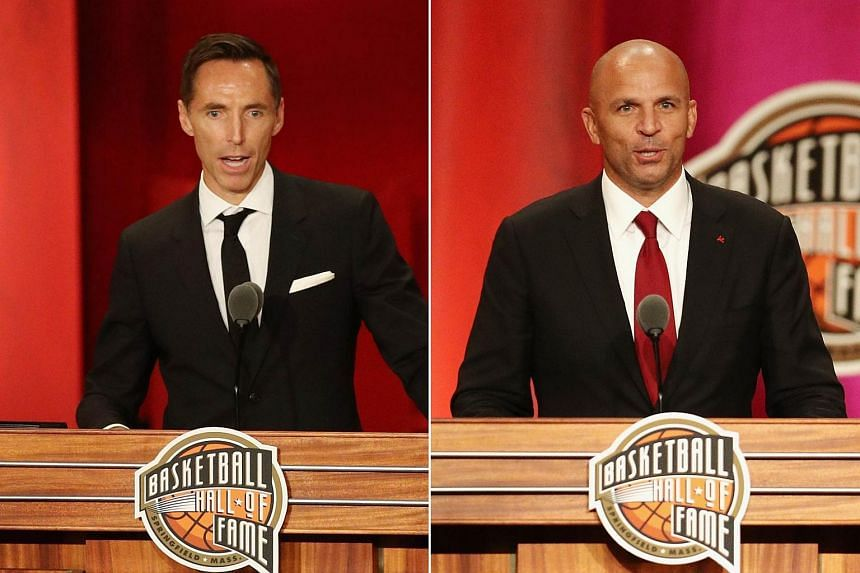 NBA stars Steve Nash (left) and Jason Kidd speaking at the 2018 Basketball Hall of Fame Enshrinement Ceremony at Symphony Hall, on Sept 7, 2018.