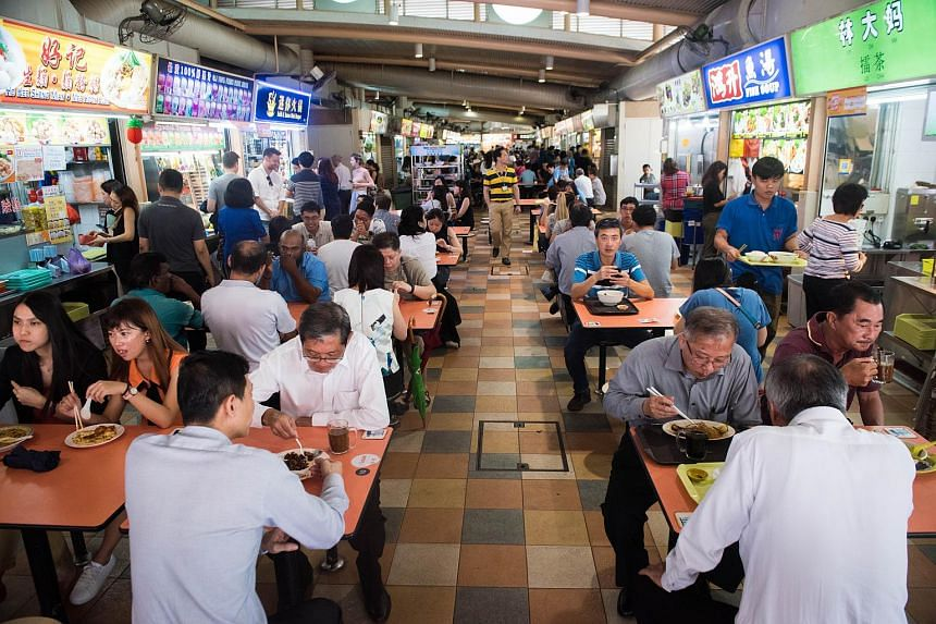 Patrons having lunch at ABC Brickworks hawker centre, on Aug 29, 2018.