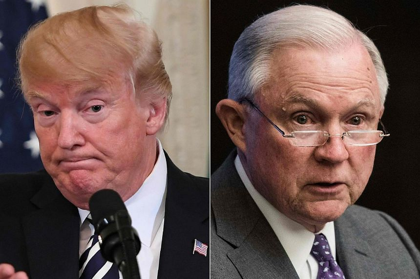 US President Trump (left) said he wanted Attorney-General Jeff Sessions to investigate the source of the anonymous op-ed essay.