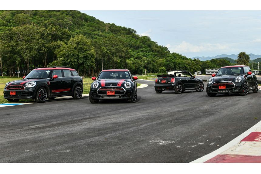 (From left) Mini John Cooper Works Countryman, JCW Clubman, JCW Convertible and JCW 3-Door. Of these, the 3-Door is the quickest, with a century sprint time of 6.1 seconds.