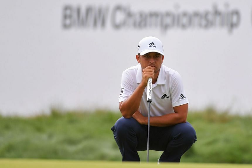 Schauffele lines up a putt on the 16th green during the second round of the BMW Championship.