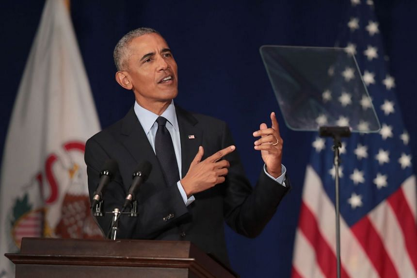 Obama speaking at the University of Illinois where he accepted the Paul H. Douglas Award for Ethics in Government.