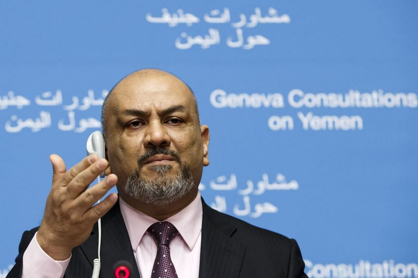 Yemen Foreign Minister Khaled al-Yamani speaks during a press conference in Geneva.