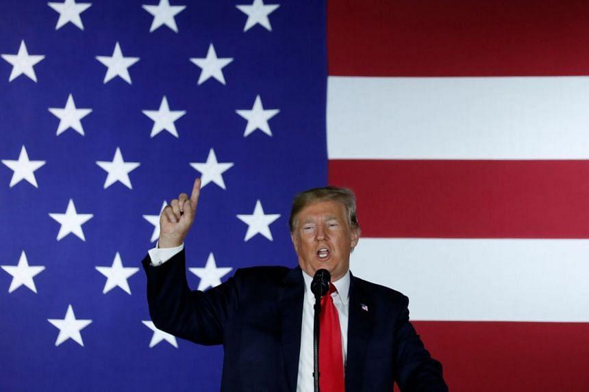 Trump speaking at a Republican Party fundraiser in Fargo, North Dakota.