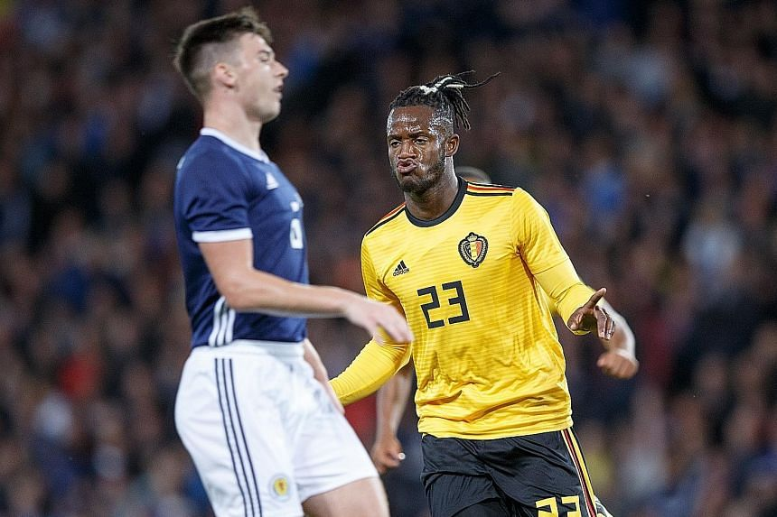 Belgium's Michy Batshuayi in high spirits after scoring against Scotland in their friendly at Hampden Park, Glasgow, on Friday. The striker scored twice in the 4-0 win.