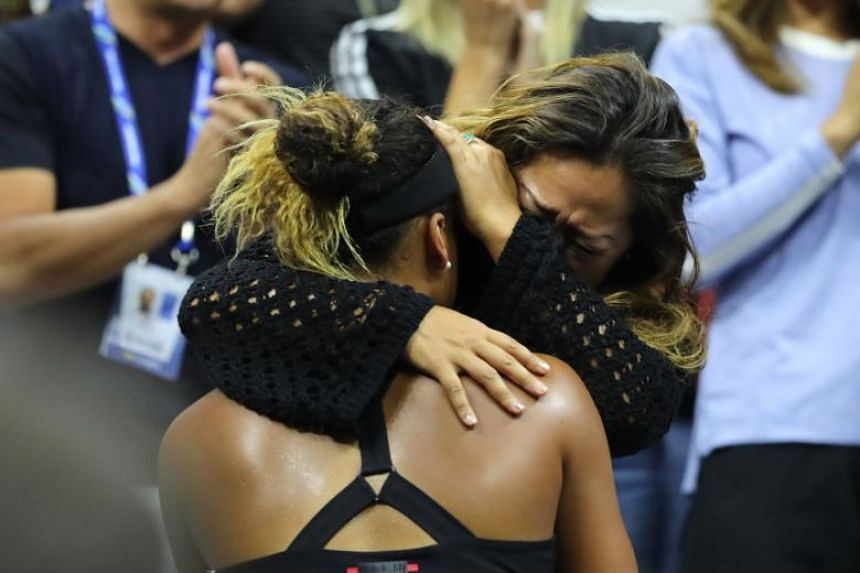 Naomi Osaka of Japan celebrates with her mother Tamaki Osaka after winning the Women's Singles finals match against Serena Williams on Sept 8, 2018.
