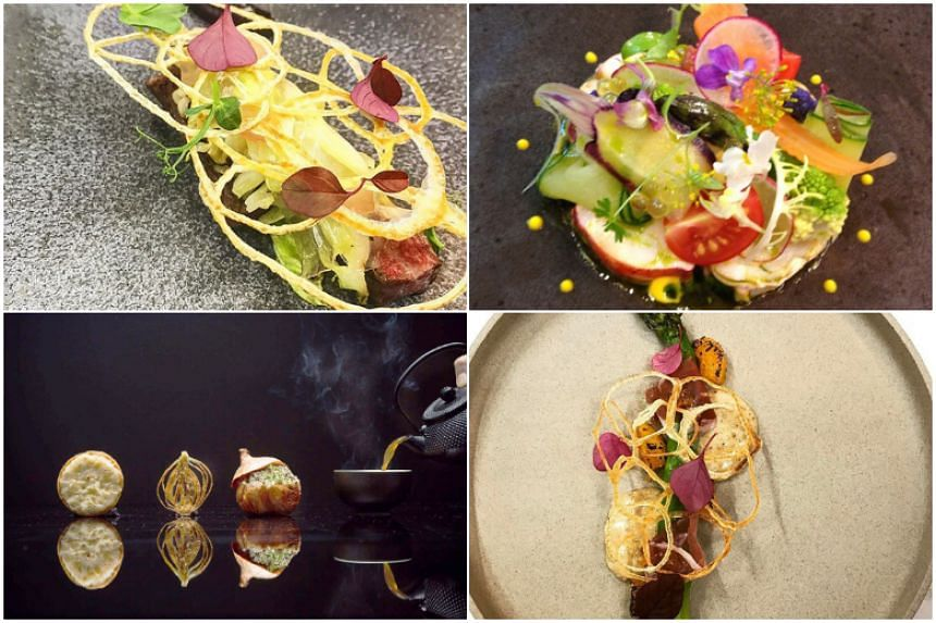 Tan's dishes are known for their quality ingredients, use of vegetables and artistic garnishing. From top: A lamb dish, lobster salad, asparagus and four ways of cooking onions.