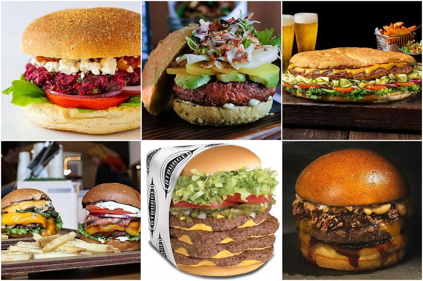 (Clockwise from top left) Mo & Jo Sourdough Burgers' Goddess burger, Mezza9's Modern Asian Burger, Pan Pacific's Beastly Burger, Three Buns' Bun DMC, Fatburger's Quad Fatburger and VeganBurg's Smoky BBQ and Creamy Shrooms burgers.