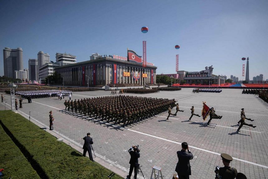 Korean People's Army soldiers march during a military parade and mass rally on Kim Il Sung square in Pyongyang, on Sept 9, 2018.