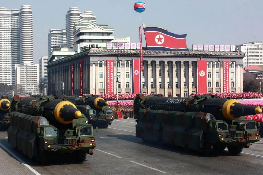 Hwasong-12 ballistic missiles on display during the military parade to mark the 70th anniversary of the Korean People's Army in Pyongyang, on Feb 8, 2018.