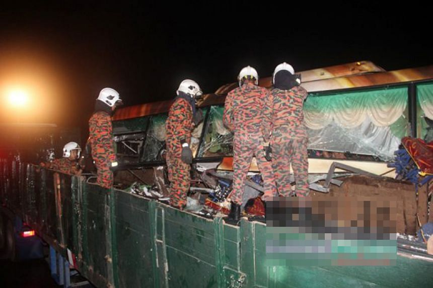 Three people, a bus driver and two passengers, were killed and 14 others injured in the accident.