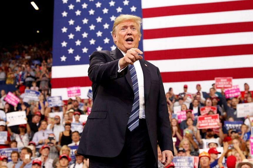 US President Donald Trump at a rally in Billings, Montana on Thursday to support Senate candidate Matt Rosendale, who is challenging Democratic incumbent Jon Tester. His own future was on his mind as Mr Trump called for support for GOP candidates, su
