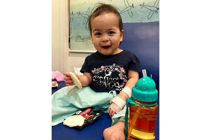 Katie, who is over a year old, was admitted to KK Women's and Children's Hospital and diagnosed with Kawasaki disease.