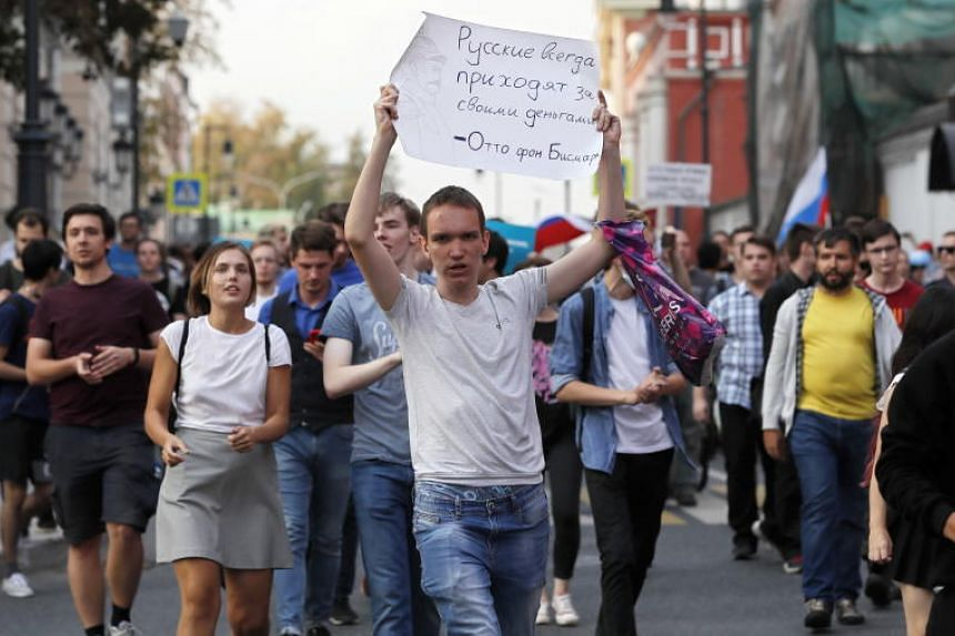 Protesters during a opposition rally against planned increases to the pension age in in Moscow, Russia, on Sept 9, 2018.